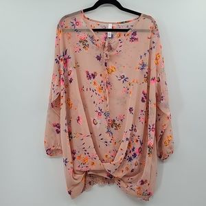 Pink blush sheer pink maternity floral tunic.